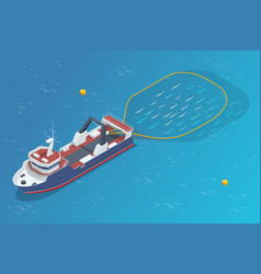 isometric shipping seafood industry boat isolated vector image
