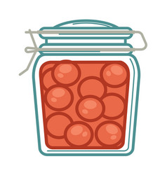 jar with pickled tomatoes vector image