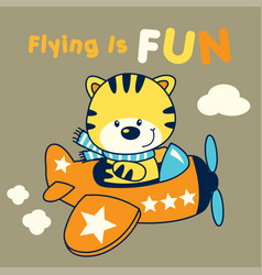 kitten pilot cartoon vector image