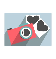 Love flat photo camera with hearts photo frames vector