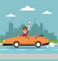 Man cellphone sport car city background vector