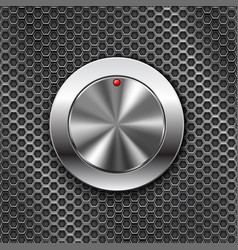 Metal switch knob button on steel perforated vector