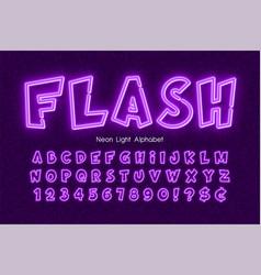 neon light 3d alphabet extra glowing comic style vector image