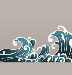 ocean wave in oriental style border vector image