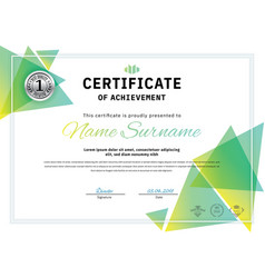 official white certificate with green triangle vector image