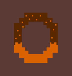 pixel icon in flat style pretzel vector image