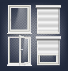 Pvc window rolling shutters opened and vector