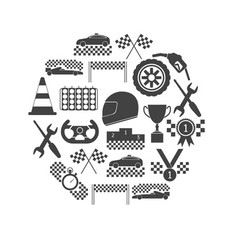 racing sport black icons round design template set vector image