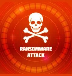 Ransomware virus emblem of malware attack skull vector