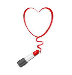 Red heart and lipstick vector