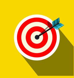 red target icon with arrow on yellow background vector image