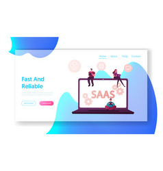 saas software as a service landing page template vector image