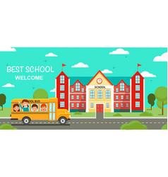 schoolbus and school building vector image