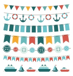 Sea theme garland vector