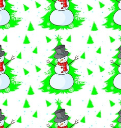 Seamless design with a snowman vector image
