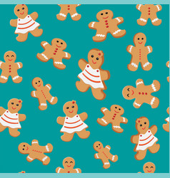 Seamless patterns with gingerbread cookies vector
