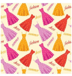 Seamless summer dresses pattern vector image