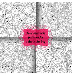 Set of antistress coloring pages vector