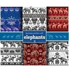 set seamless ethnic pattern with elephants vector image