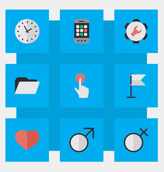 set simple ui icons vector image