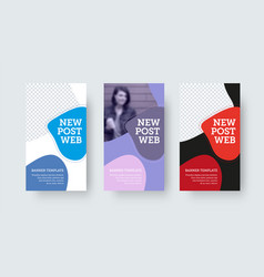 Set web post with colorful abstract design vector