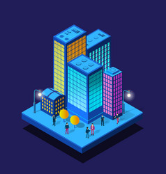 smart city night neon ultraviolet walking people vector image