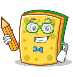 student with pencil sponge cartoon character funny vector image