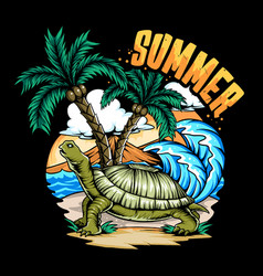 summer turtle on beach and coconut tree with vector image