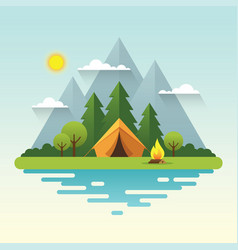 Sunny day camping in flat style vector