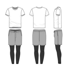 Templates of blank t-shirt shorts pants vector