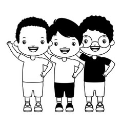 Three boy embraced vector