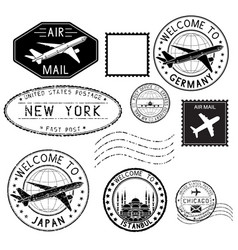 Travel stamps and postmarks collection vector