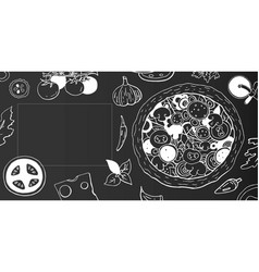 Vintage horizontal pizza banner on black vector