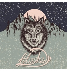 vintage poster with wolf on alaska vector image