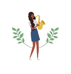 Woman with saxophone and branches and leaves in vector