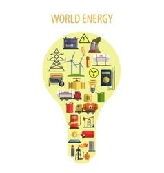 World energy lamp concept vector