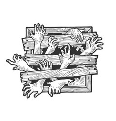 zombie hands window sketch engraving vector image