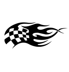 Flaming black and white checkered flag tattoo vector image