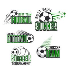 icons for soccer league football tournament vector image