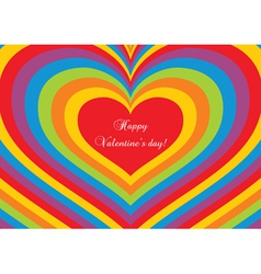 Psychedelic heart Valentines day postcard vector image vector image