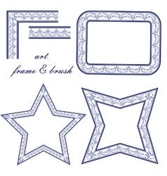 Set of art frames and design elements in the style vector image vector image