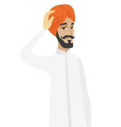 young hindu businessman scratching his head vector image vector image