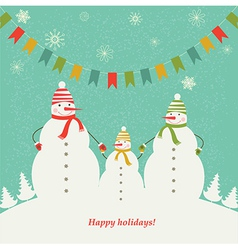 Christmas card with the family of snowmen vector image