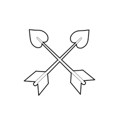 Cross arrows icon outline style vector image