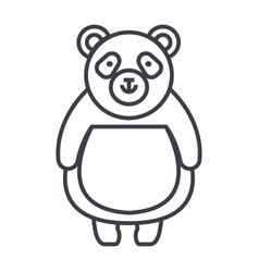 cute panda line icon sign on vector image vector image