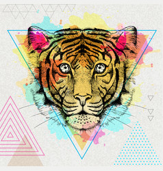 hipster animal tiger on artistic polygon vector image