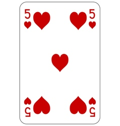 Poker playing card 5 heart vector image vector image