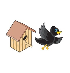 Starling and Nesting Box vector image vector image