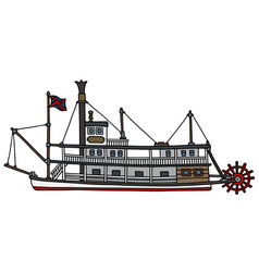 the vintage paddle steamboat vector image