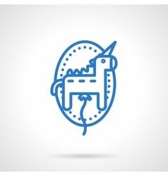 Unicorn balloon icon blue line style vector image vector image